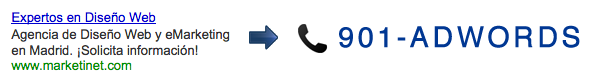 Show a differente phone number for users coming from Adwords